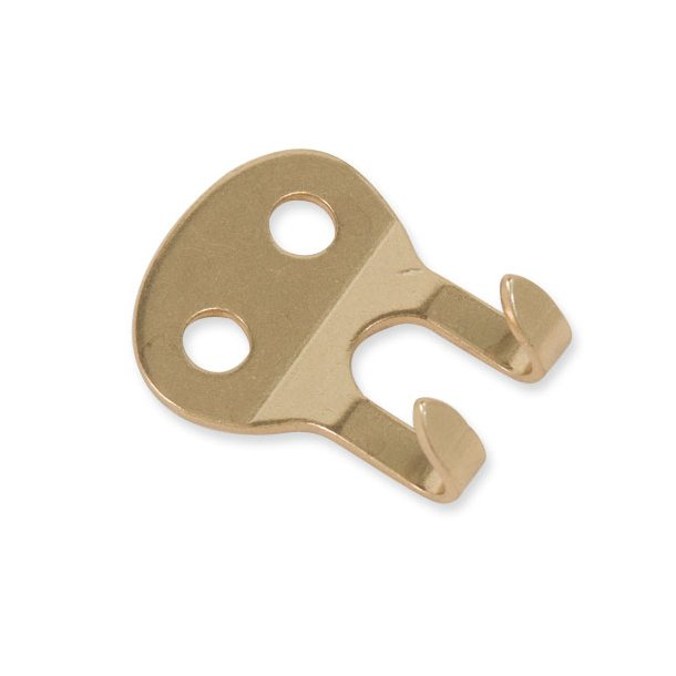 2-prong strap hook, solid brass