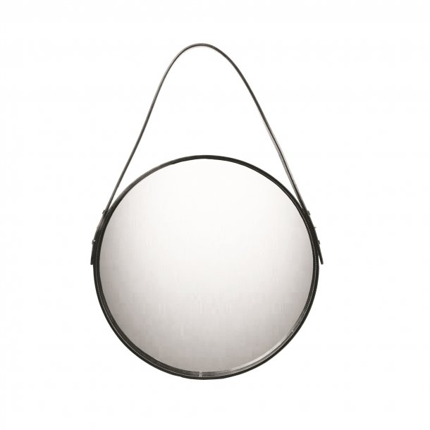MIRROR ROUND IN LEATHER