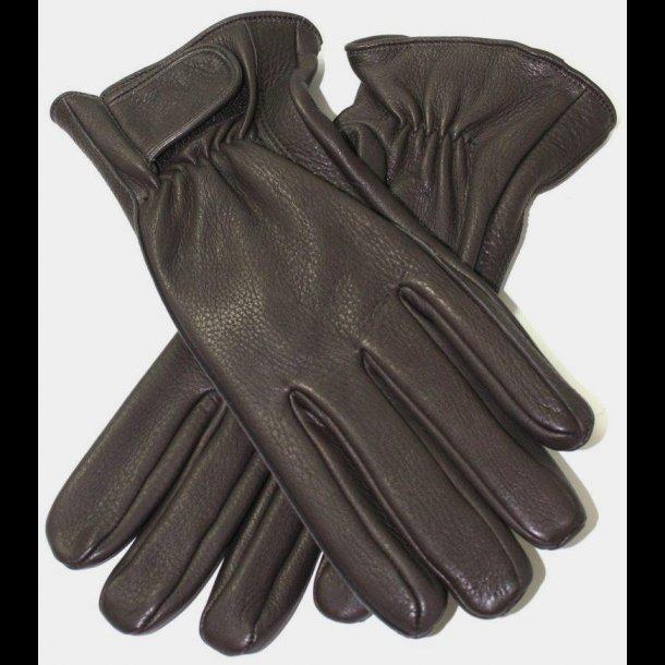 Handske i Hjort, indvendigt syet, med Velcro lukke og strikfor