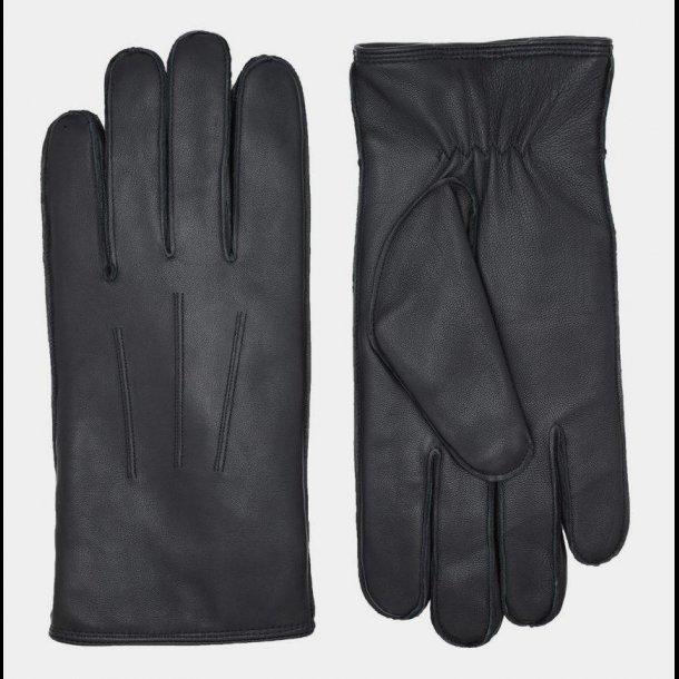 Lambskin glove w/curly lamb lining black for men