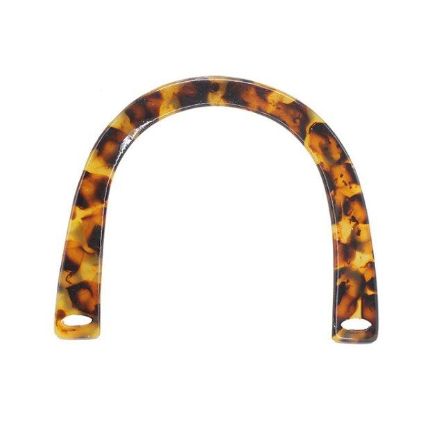 Acrylic Bag Handles - Semi circle amber- 2 pcs - 115mm - 14mm eye