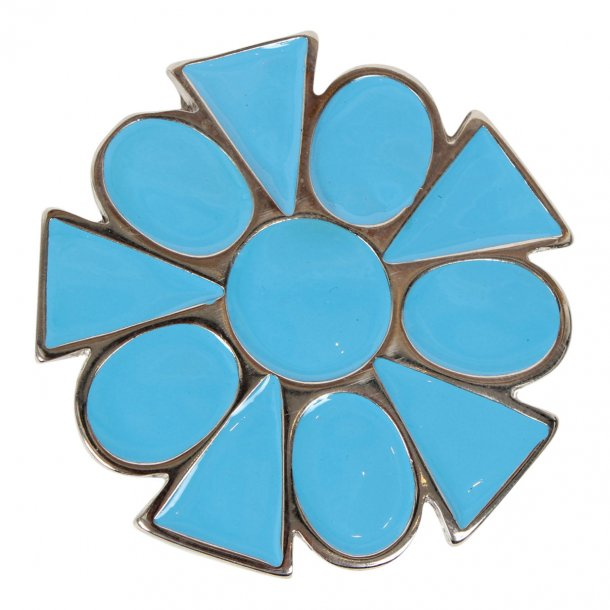 Pladespænde Blå Blomst 70mm