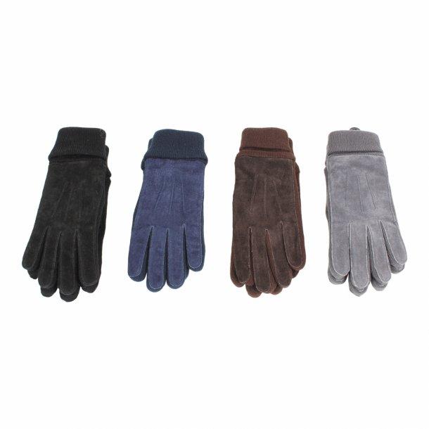 Handske i svineruskind med strik - Dame
