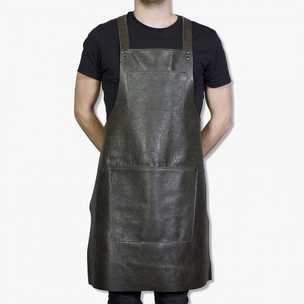 Apron in leather with Suspender/pocket - Handmade