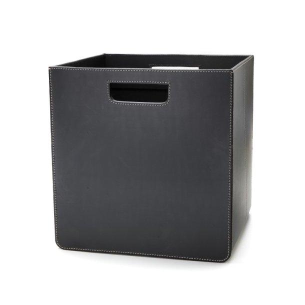 Storage box læder sort 31x31x31cm