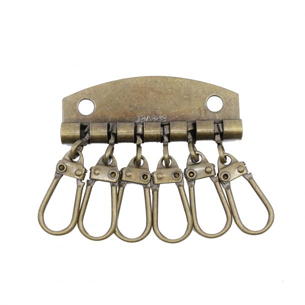 Key wallet hardware 48mm old brass for 6 keys