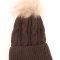 Hat in cashmere/silk with fur pompon - unisize